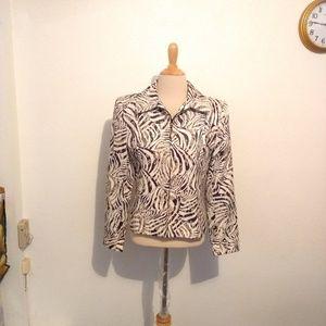 Cache Beige Black Zebra Print Jacket
